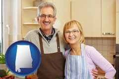 alabama map icon and a senior couple standing in their apartment kitchen