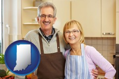 indiana map icon and a senior couple standing in their apartment kitchen