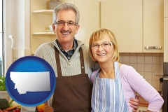 montana map icon and a senior couple standing in their apartment kitchen