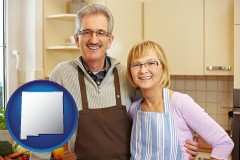 new-mexico map icon and a senior couple standing in their apartment kitchen
