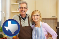 texas map icon and a senior couple standing in their apartment kitchen