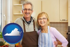 Virginia - a senior couple standing in their apartment kitchen