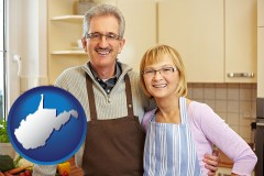 west-virginia map icon and a senior couple standing in their apartment kitchen